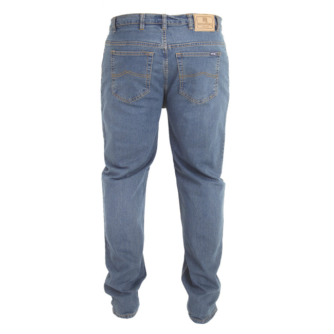 Stonewash - Back - Duke Mens Rockford Carlos Kingsize Stretch Jeans