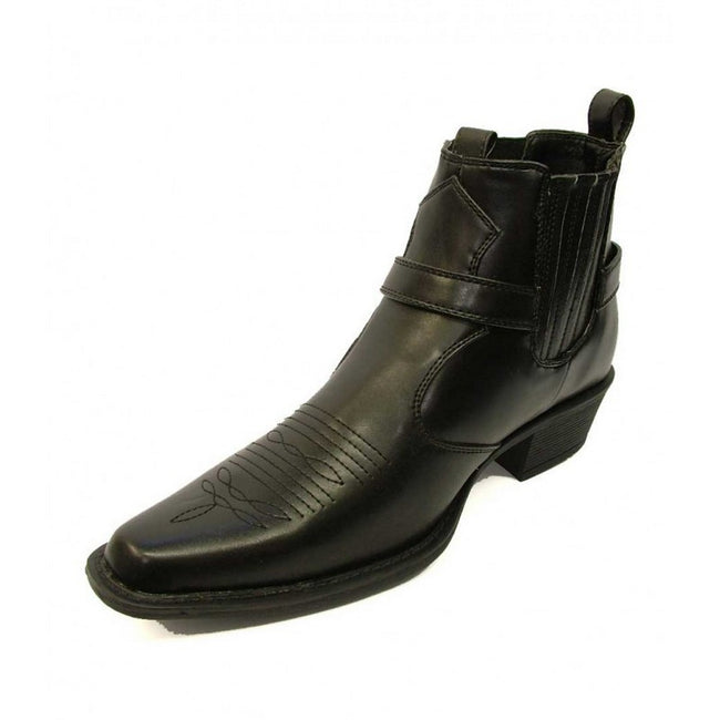 Black - Pack Shot - US Brass Mens Eastwood Cowboy Ankle Boots