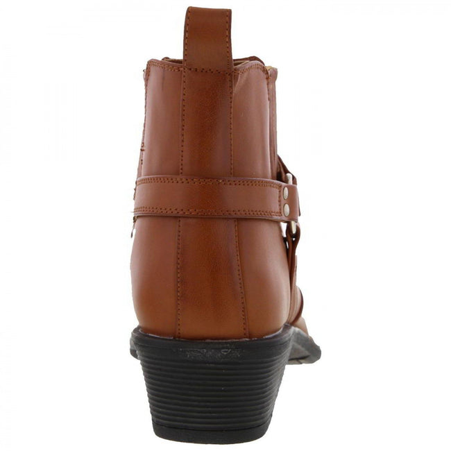 Tan - Side - US Brass Mens Eastwood Cowboy Ankle Boots