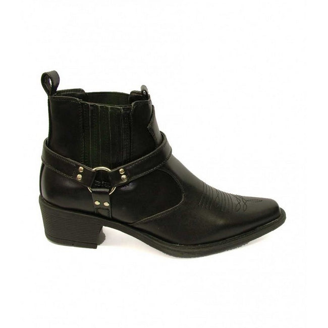 Black - Front - US Brass Mens Eastwood Cowboy Ankle Boots