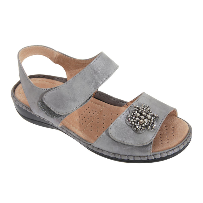 Pewter-Silver - Front - Boulevard Womens-Ladies Touch Fastening Wedge Sandals