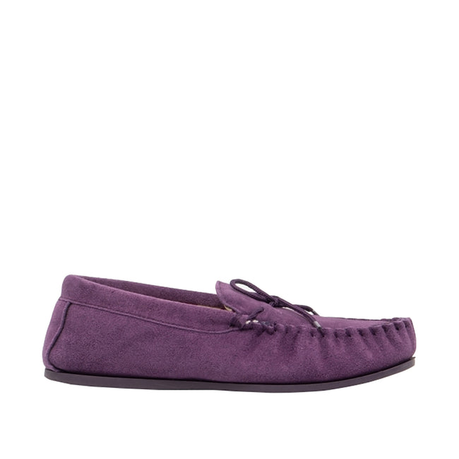 Purple - Back - Mokkers Womens-Ladies Lily Slip On Slippers