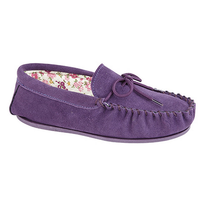 Purple - Front - Mokkers Womens-Ladies Lily Slip On Slippers