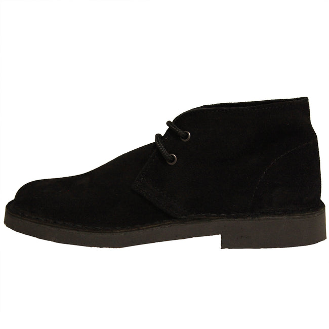 Navy - Side - Roamers Mens Real Suede Unlined Desert Boots