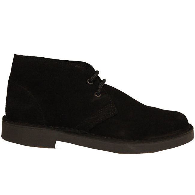 Dark Brown - Back - Roamers Mens Real Suede Unlined Desert Boots