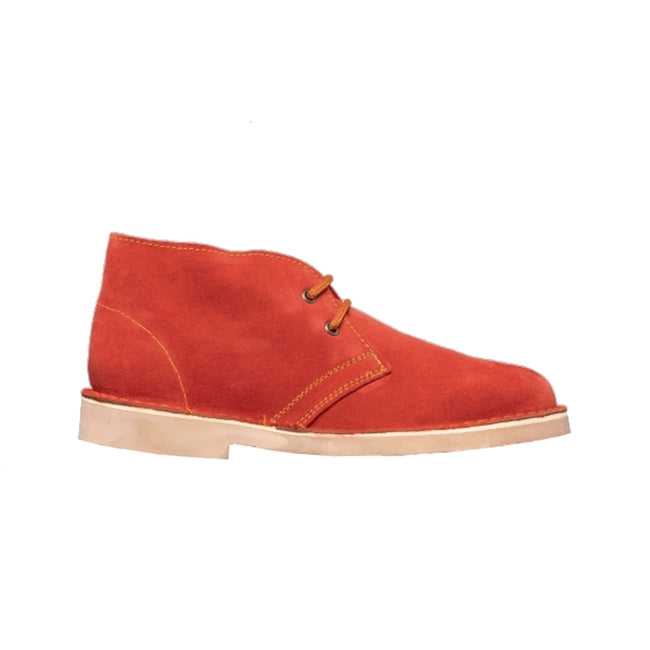 Red - Back - Roamers Mens Real Suede Unlined Desert Boots