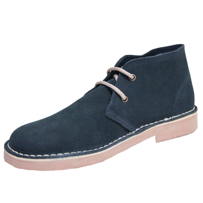 Navy - Back - Roamers Mens Real Suede Unlined Desert Boots
