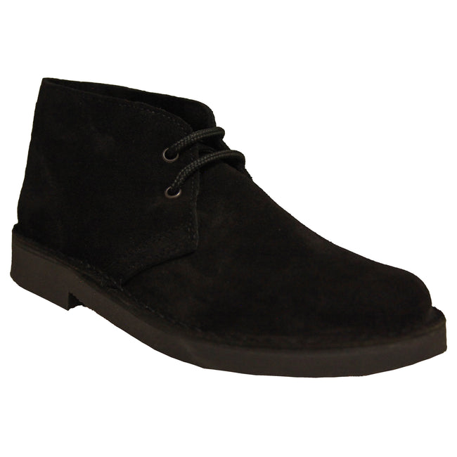 Black - Back - Roamers Mens Real Suede Unlined Desert Boots