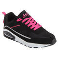 Black-Fuchsia - Front - Dek Womens-Ladies Air Supreme Lace Up Jogger Trainers
