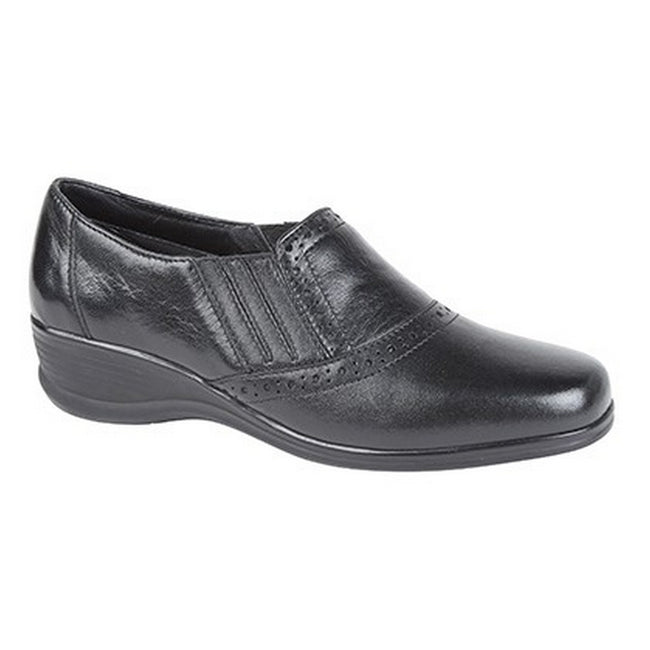 Black - Front - Mod Comfys Womens-Ladies Softie Leather Casual Shoes