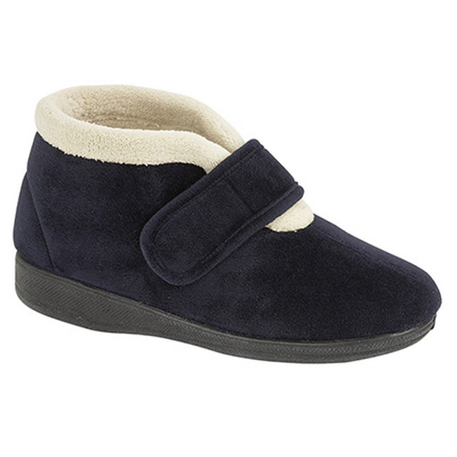 Navy - Front - Sleepers Womens-Ladies Amelia Bootee Slippers