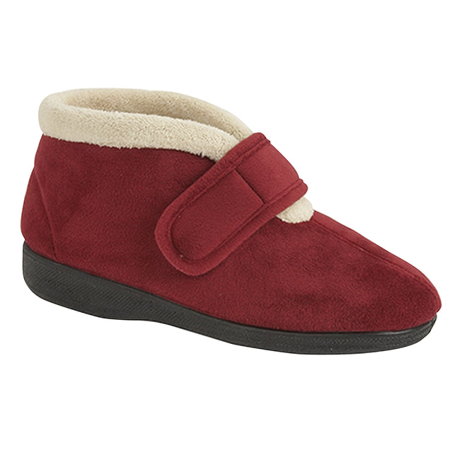 Wine - Front - Sleepers Womens-Ladies Amelia Bootee Slippers