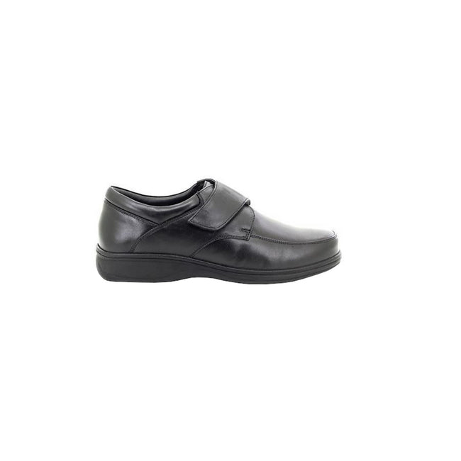Black - Back - Roamers Mens Fuller Fitting Superlight Touch Fastening Leather Shoes
