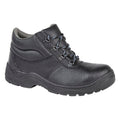Black - Front - Grafters Mens Padded Collar D-Ring Chukka Safety Boots