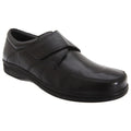 Black - Front - Roamers Mens Fuller Fitting Superlight Touch Fastening Leather Shoes
