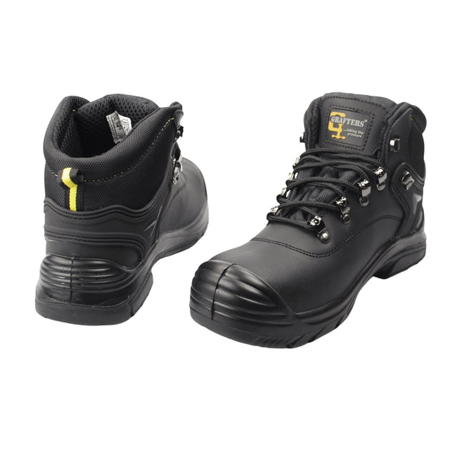 Dark Brown - Front - Grafters Mens Super Wide EEEE Fitting Safety Boots