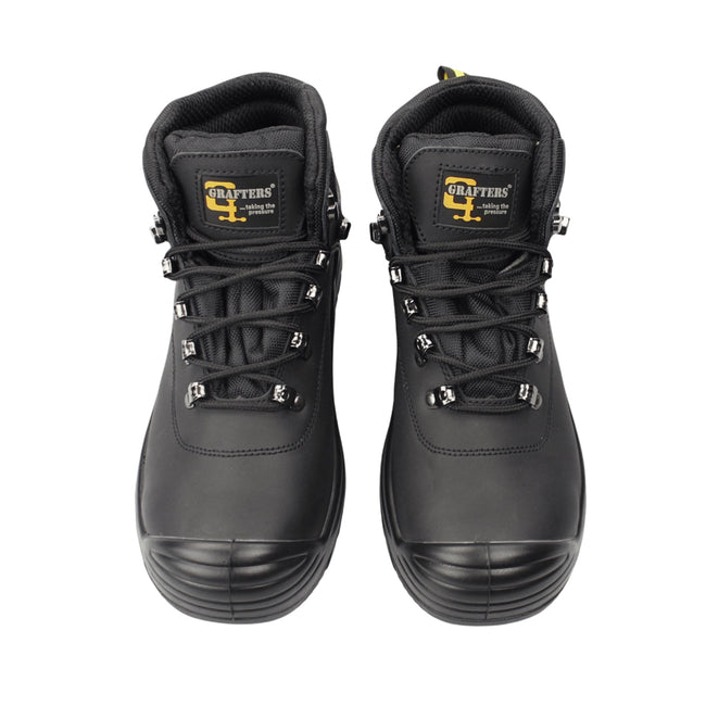 Black - Front - Grafters Mens Super Wide EEEE Fitting Safety Boots
