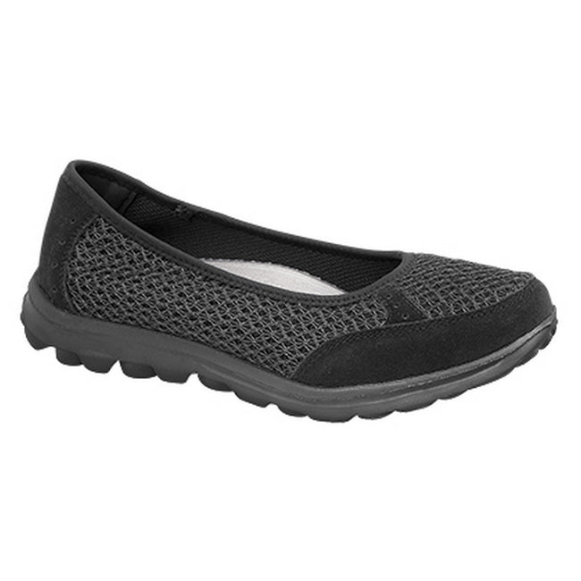 Black - Front - Boulevard Womens-Ladies Slip On Memory Foam Shoes