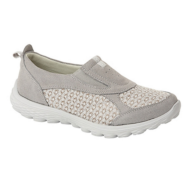 Grey - Front - Boulevard Womens-Ladies Twin Gusset Casual Slip On Shoes