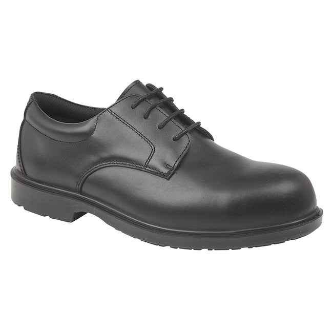 Black - Front - Grafters Mens Uniform Fully Composite Non-Metal Safety Brogues