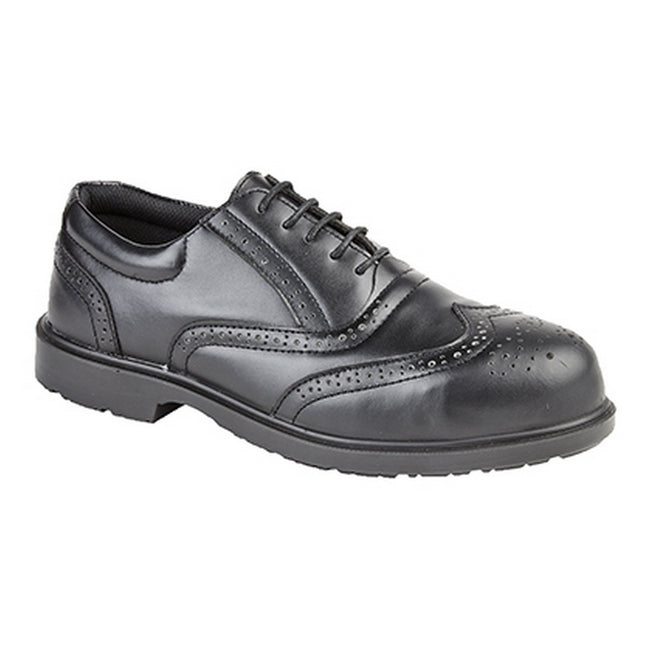 Black - Front - Grafters Mens Uniform Perforated Leather Non-Metal Safety Shoes