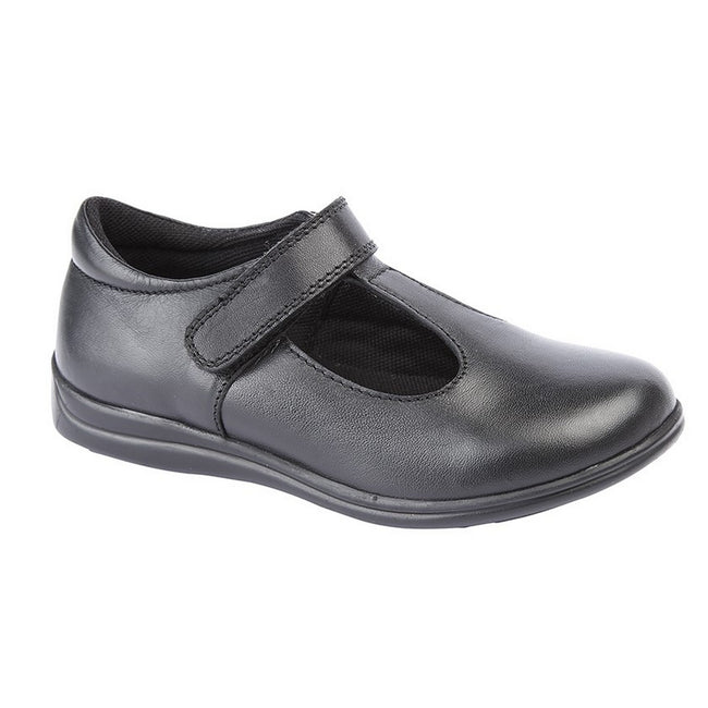 Black - Front - Roamers Childrens Girls Touch Fastening T-Bar Leather School Shoes