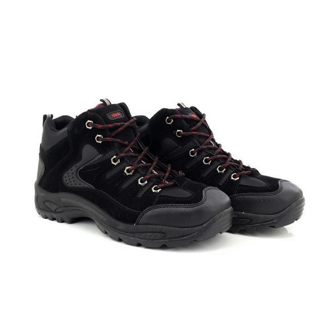 Black - Close up - Dek Mens Ontario Lace-Up Hiking Trail Boots
