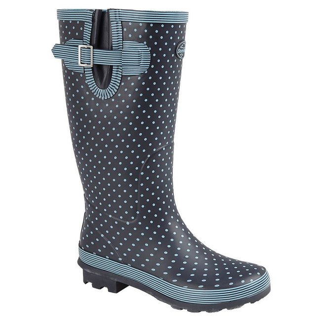 Pale Blue Polka Dot-Navy - Front - Stormwells Womens-Ladies Polka Dot Wellington Boots