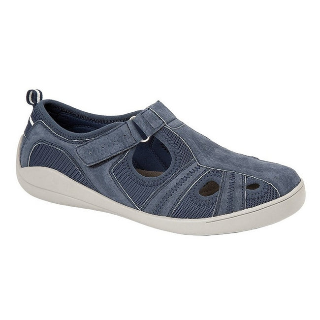 Navy - Front - Boulevard Womens-Ladies Leather-Textile Casual Shoe