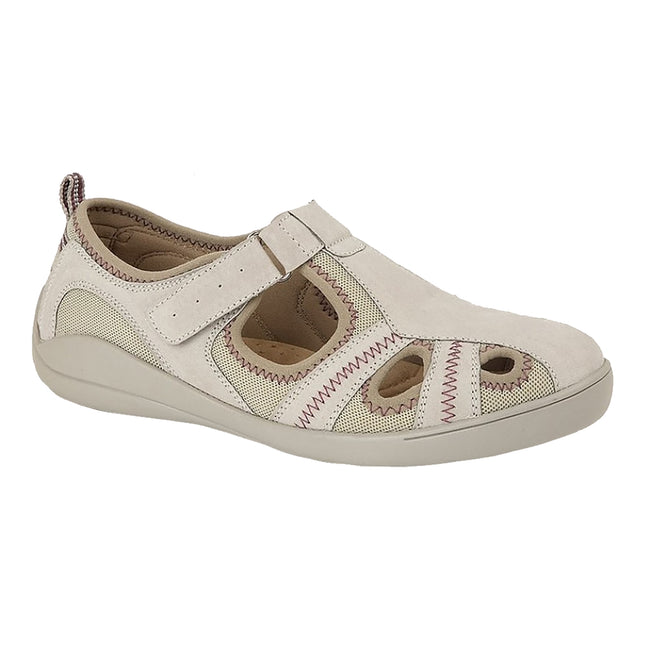 Grey - Front - Boulevard Womens-Ladies Leather-Textile Casual Shoe