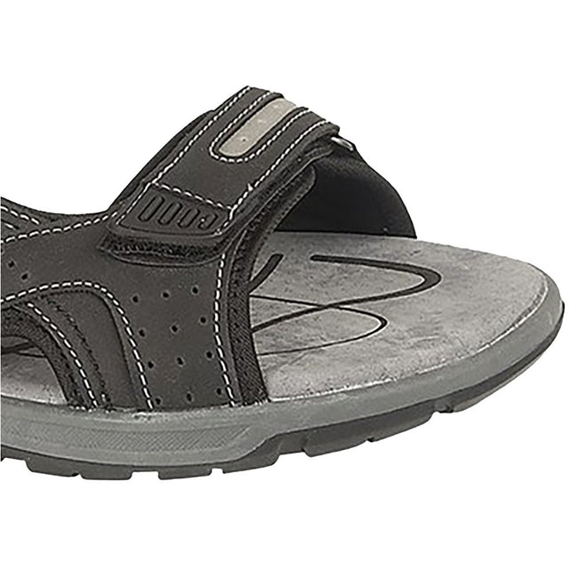Brown - Front - PDQ Mens 3 Touch Fastening Pig Leather Sports Sandals