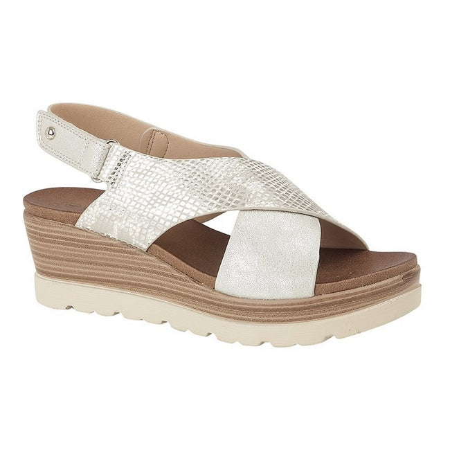 Silver - Front - Cipriata Womens-Ladies Fiore Crossover High Wedge Sandals
