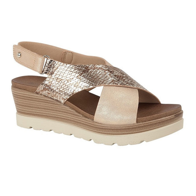 Champagne-Gold - Front - Cipriata Womens-Ladies Fiore Crossover High Wedge Sandals