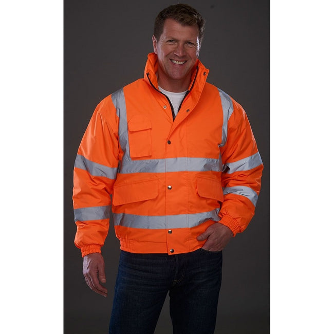 Yellow - Front - Grafters Unisex Hi-Visibility Waterproof Bomber Jacket