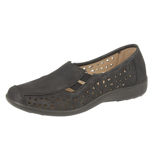 Black - Front - Boulevard Womens-Ladies Nubuck Side Gusset Summer Casual Shoes