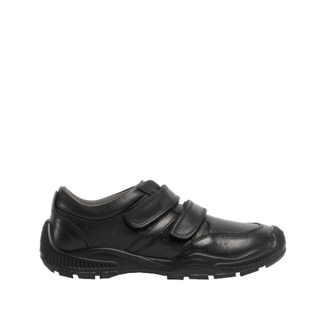 Black - Back - Roamers Boys Twin Touch Fastening Leather Shoe With Toe Guard