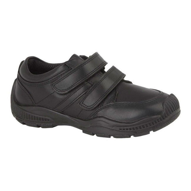Black - Front - Roamers Boys Twin Touch Fastening Leather Shoe With Toe Guard