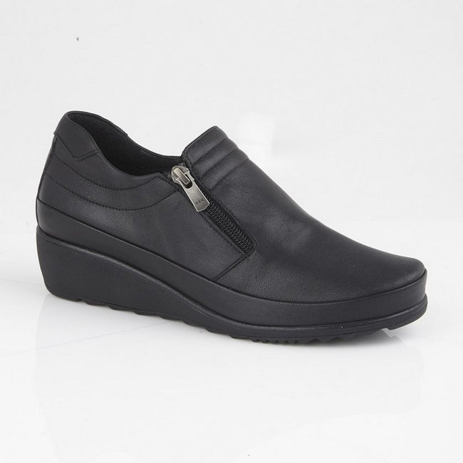 Black - Front - Mod Comfys Womens-Ladies Zipped Gusset Casual Leather Shoe