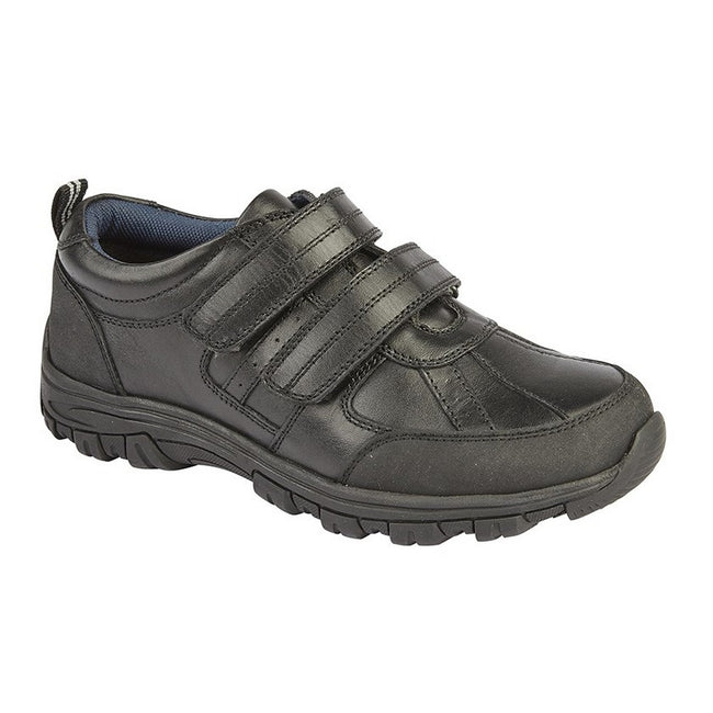 Black - Front - Roamers Boys Twin Touch Fastening Leather Shoe