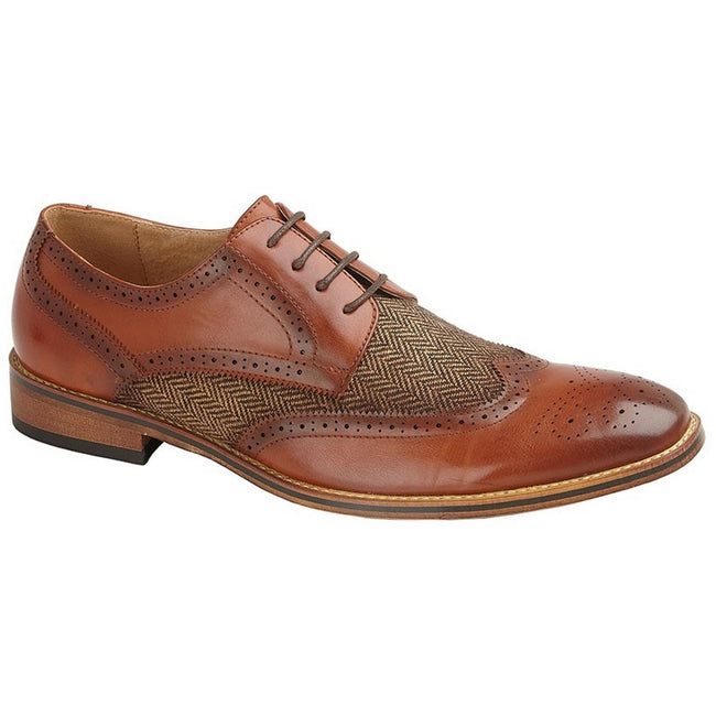 Tan - Front - Goor Childrens-Boys Leather Lined 4 Eye Brogue Gibson Shoe