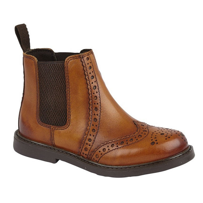 Tan - Front - Roamers Boys Leather Ankle Boots