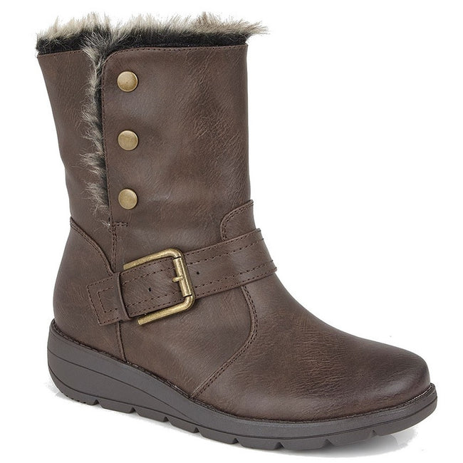 Brown - Back - Cipirata Womens-Ladies Faux Fur Coralla Ankle Boots