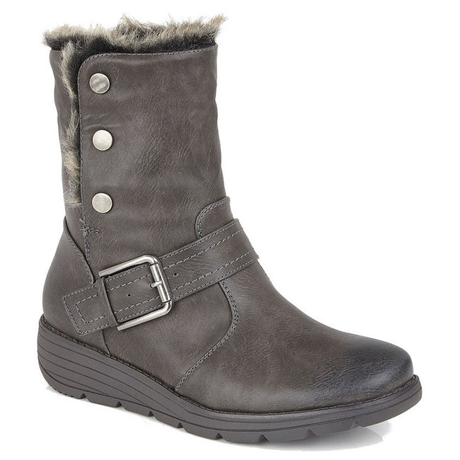 Grey - Front - Cipirata Womens-Ladies Faux Fur Coralla Ankle Boots