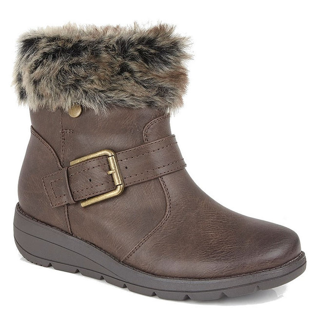 Brown - Front - Cipirata Womens-Ladies Faux Fur Coralla Ankle Boots