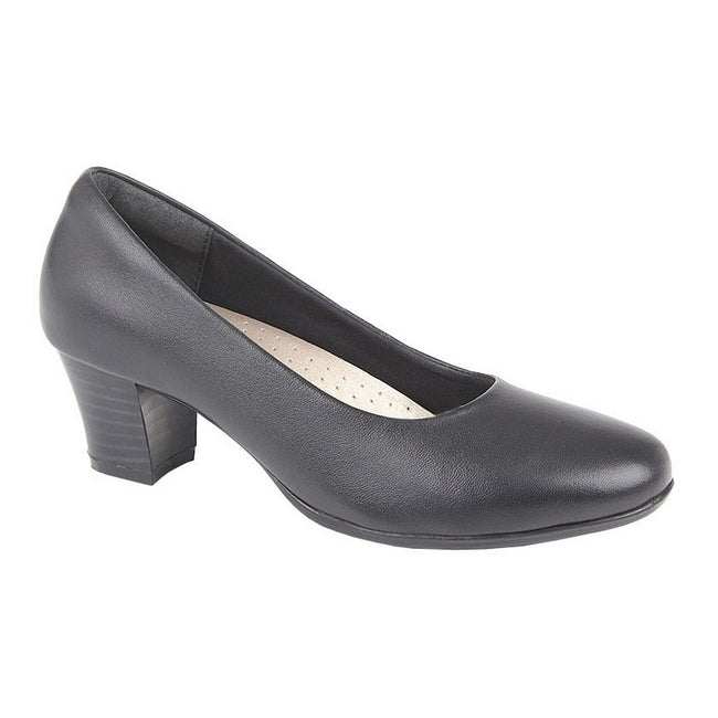 Black - Front - Mod Comfys Womens-Ladies Leather Heel Court Shoes