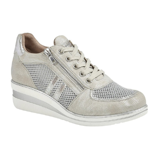 Silver - Front - Cipriata Womens Lace And Zip Trainers