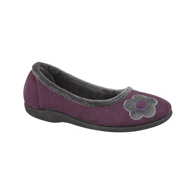 Purple - Front - Sleepers Womens-Ladies June Ballerina Velour Slippers