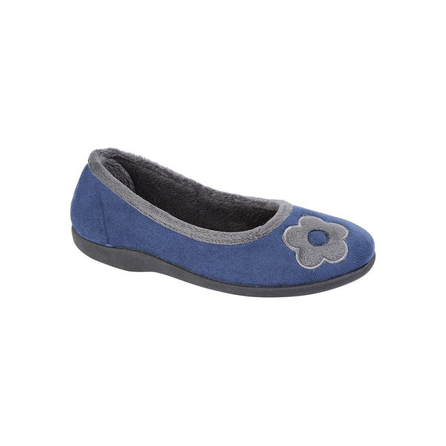 Navy - Front - Sleepers Womens-Ladies June Ballerina Velour Slippers