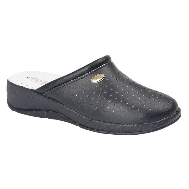 Navy Blue - Front - Dek Womens-Ladies Coated Leather Clogs