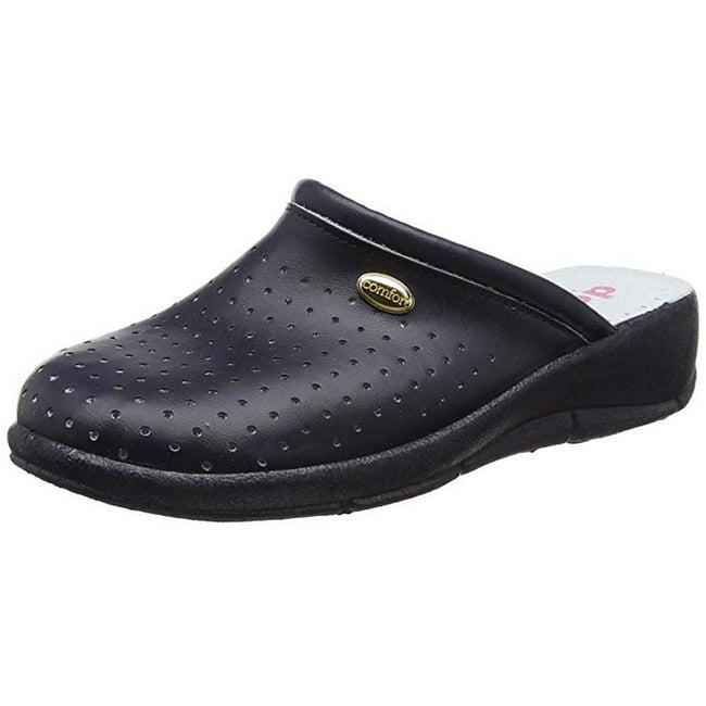 Navy Blue - Close up - Dek Womens-Ladies Coated Leather Clogs